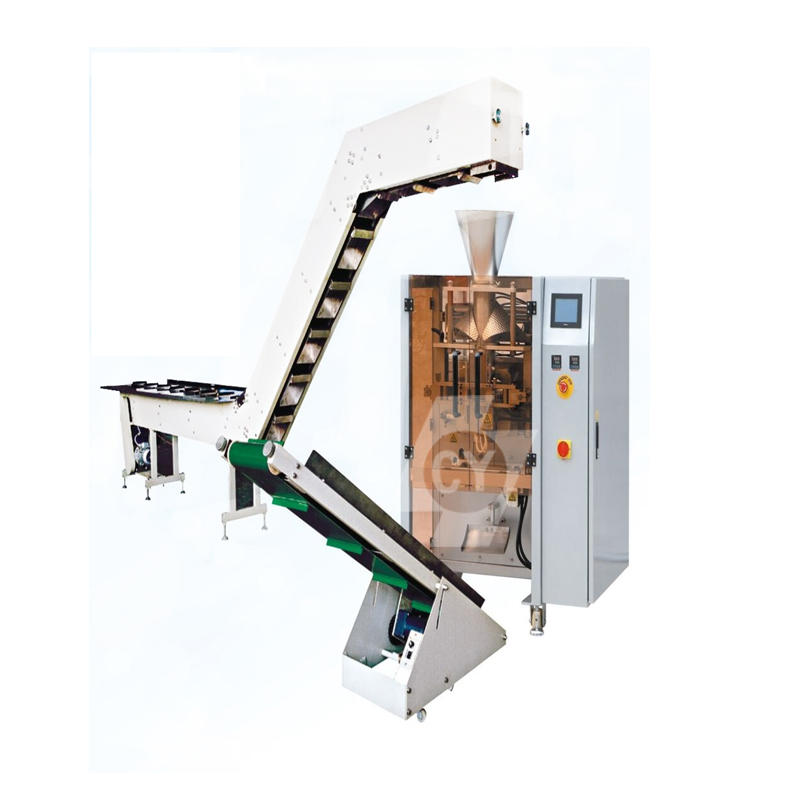 Semi-automatic packing machine with bucket chain type manual feeding conveyor DC-4230C/5235C